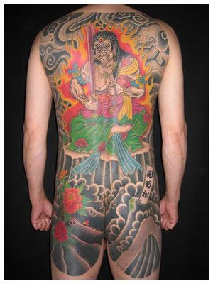 不動明王の刺青、和彫り