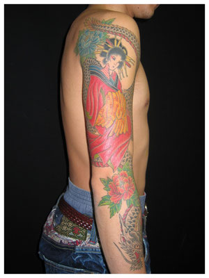花魁の刺青、和彫り
