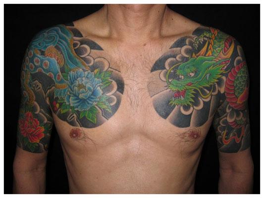 唐獅子牡丹と龍の刺青,和彫り