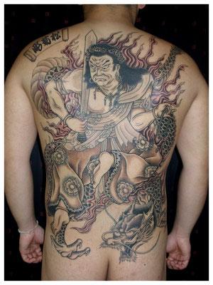 不動明王,刺青,和彫り