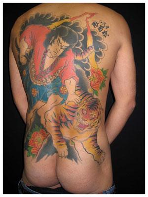 虎退治,刺青,和彫り