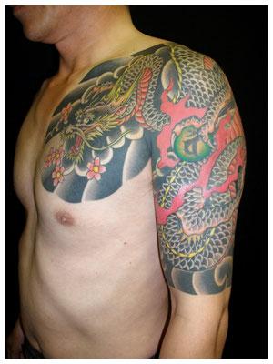 龍の刺青和彫り