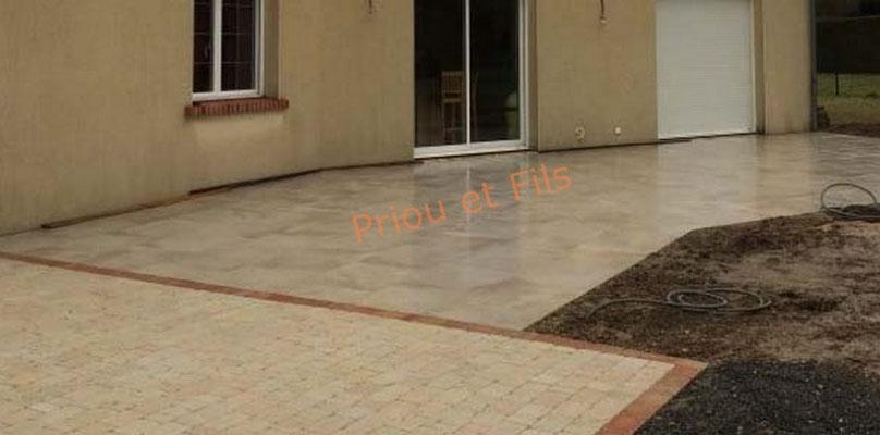 allée, terrasse, entrée en pavés, en dalles, carrelage grès cérame, Priou et Fils, 41700 Contres, Blois, Loir et Cher