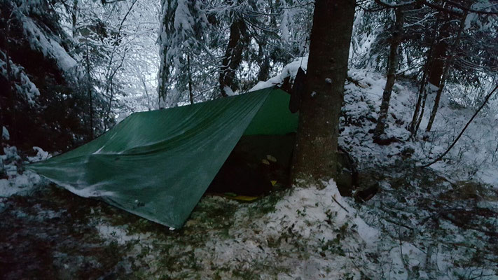 Tarp-Shelter auf unserer Norwegen-Survivaltour