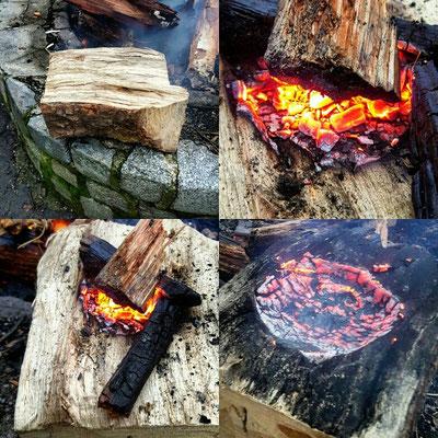 Nur ein Holzblock, Feuer und ein Stock zum auskratzen. Geduld ist gefragt.