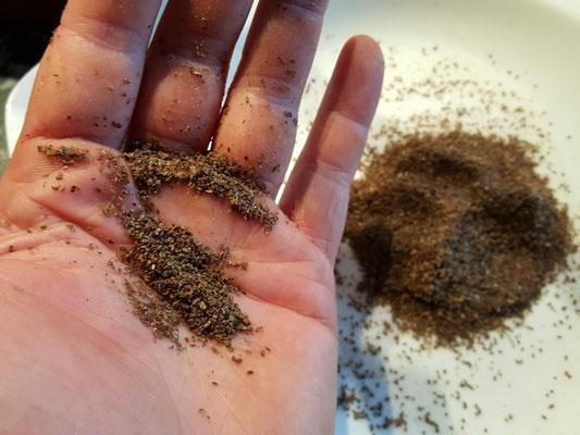 Zwei Mahlgänge später: 11 Gramm Mehl