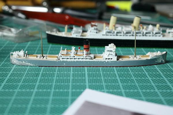 Port Dunedin bereits mit gekürztem Schornstein und neuen Masten aus 8mm Messingdraht