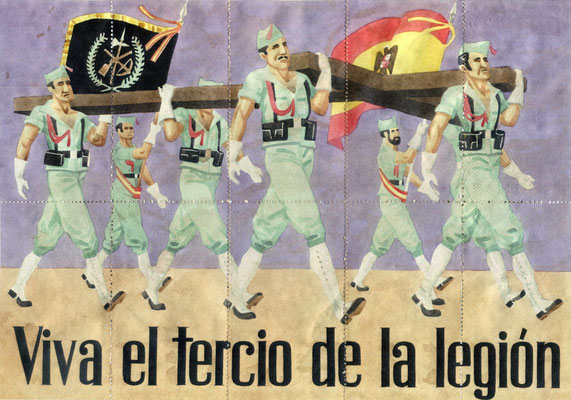 Rückseite eines Satzes spanischer Lebensmittelmarken mit einer Darstellung der Fremdenlegion, die auf der Seite der Nationalisten focht, Ende der 1930er Jahre.