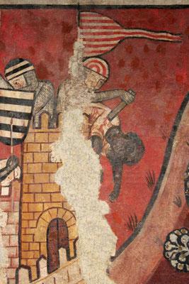 Darstellung des Grafen von Barcelona auf einem mittelalterlichen Wandbild, 12. Jahrhundert