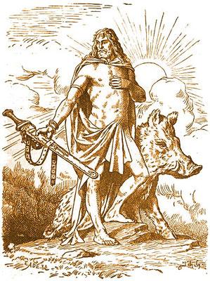 Darstellung des germanischen Gottes Freyr mit seinem Eber Gullinborsti von Johannes Wehrts, Ende des 19. Jahrhundert