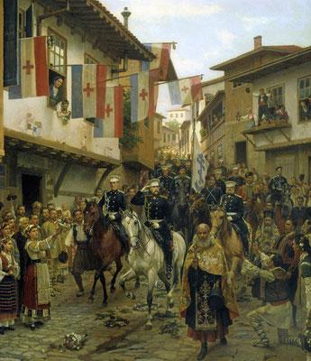 Die bulgarische Bevölkerung begrüßt die russischen Truppen beim Einzug in Tarnovo, 1877.