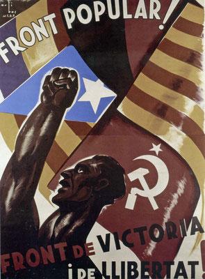 Propagandakarte der autonomen Provinz Katalonien während des Spanischen Bürgerkriegs, etwa 1936