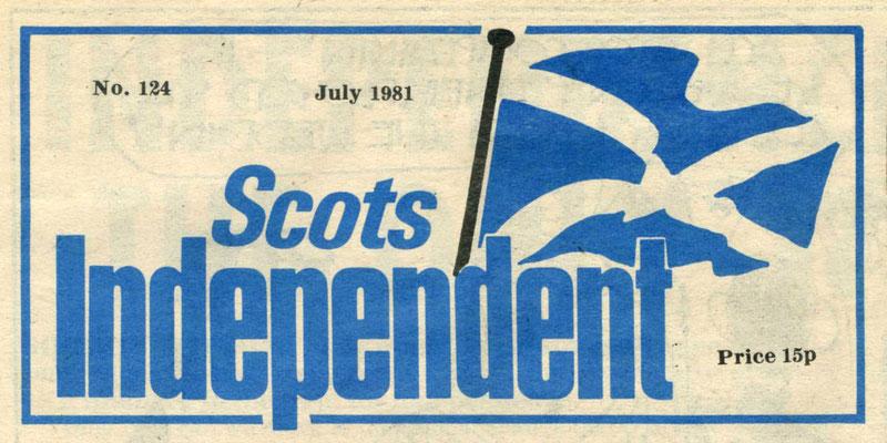 """Kopf der schottischen Zeitung """"Scots Independent"""", 1981"""