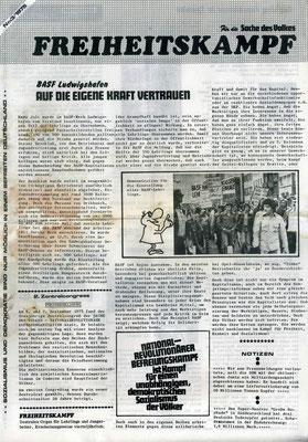 """Ausgabe der Flugblattzeitung """"Freiheitskampf"""" von 1975"""