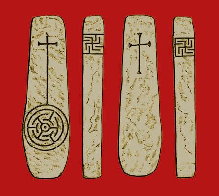 Bei Glencoe, Grafschaft Kerry, Irland, gefundenes Steinmal, 6. oder 7. Jahrhundert
