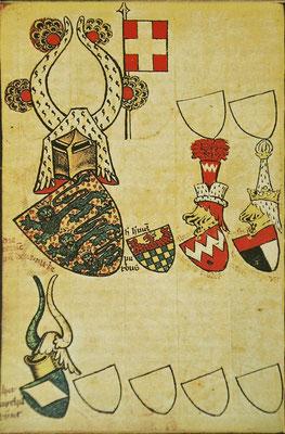 Erste bekannte Darstellung des Dannebrog aus dem Wappenbuch des Herzogs von Geldern, 1360