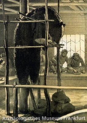 Des Bären Geburtstag, aber es feiert nur sein Fell mit, bei einem sibirschen Stamm, 1930er Jahre