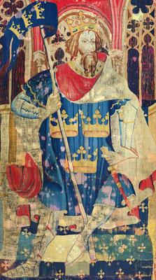 Darstellung von König Artus auf einem Wandteppich, um 1385