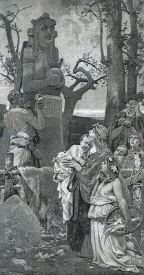 Karl Gehrts: Die Kunst am Anfang, Holzstich nach dem Wandgemälde in der Düsseldorfer Kunsthalle, 1896