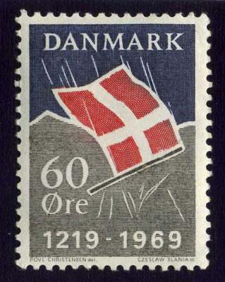 Dänische Briefmarke zum 750. Jahrestag der Schlacht bei Lyndanisse, 1969