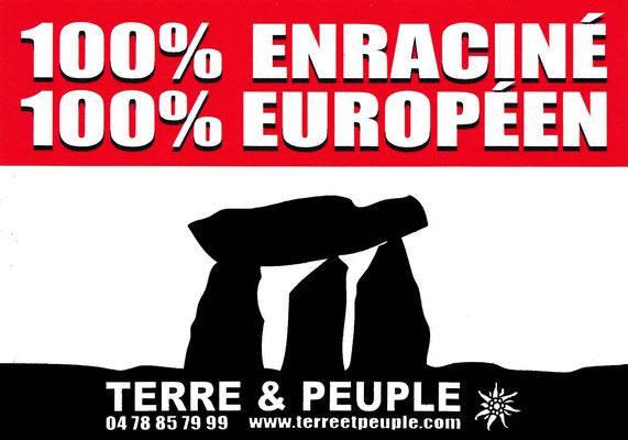 Aufkleber der französischen Bewegung Terre et Peuple, einer Abspaltung des Front National, Ende 1990er Jahre