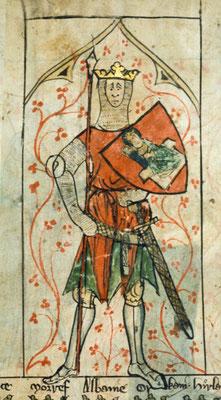 Darstellung von König Artus aus der Chronik Englands des Peter of Langtoft, um 1300