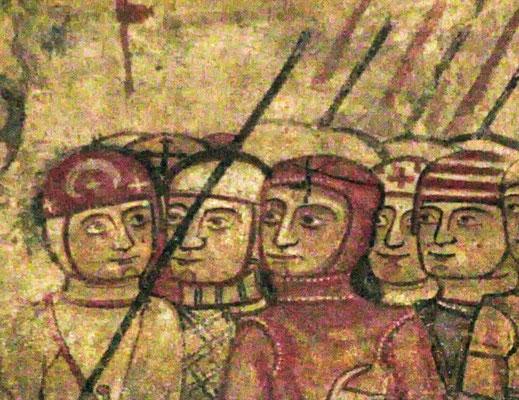 Christlicher Ritter mit Halbmond und Stern als Waffenzeichen, Wandmalerei, katalanisch, 12. Jahrhundert