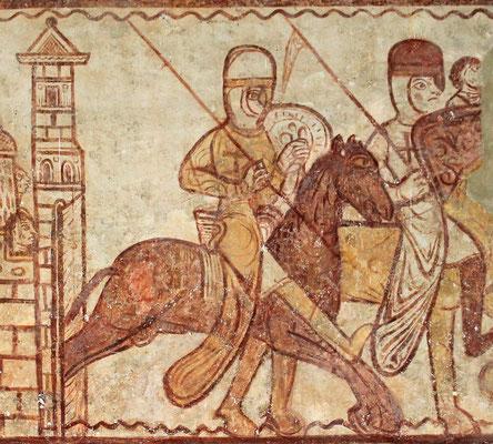 Tempelritter mit Kreuzemblem, Wandmalerei, Kapelle in Cressac-St Genis, 12. Jahrhundert.