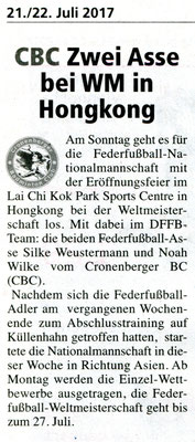 Vorbericht in der Cronenberger Woche vom 21.07.2017 zur Weltmeisterschaft in Hongkong