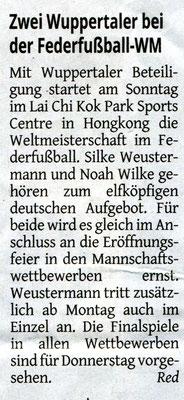 Vorbericht in der Westdeutschen Zeitung vom 22.07.2017 zur Weltmeisterschaft in Hongkong