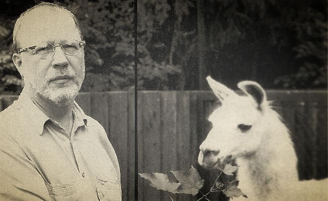 Otmar Alt in der Menagerie mit dem weißen Lama, 1997