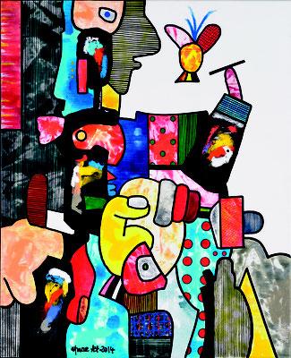 Kunstgeheimnis Zyklus: Die Kunst braucht Freiheit und einen Raum der Stille, Acryl auf Leinwand 80 x 65 cm, 2014