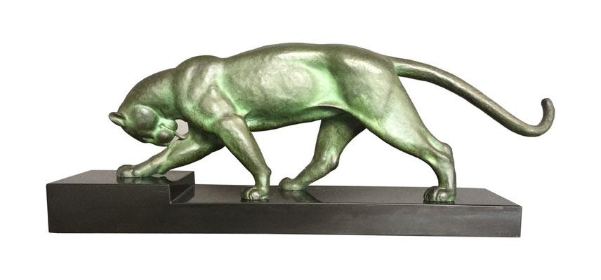 Artdeco Panther-Skulptur, Bronze signiert Alexandre OULINE