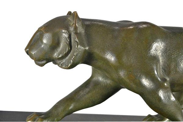Kubistischer Art Deco Panther, Bronze signiert ELSOUK