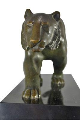 Kubistischer Art Deco Panther Bronze signiert Elsouk