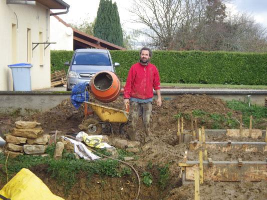 les longrines pour la terrase et l'accès sanitaire - autour du 10 décembre 2017
