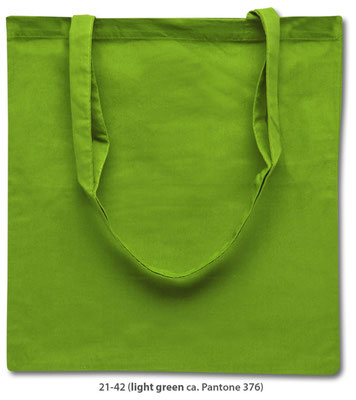 Baumwolltasschen, lange Henkel, hellgrün