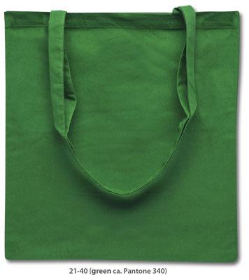 Baumwolltaschen, lange Henkel, grün