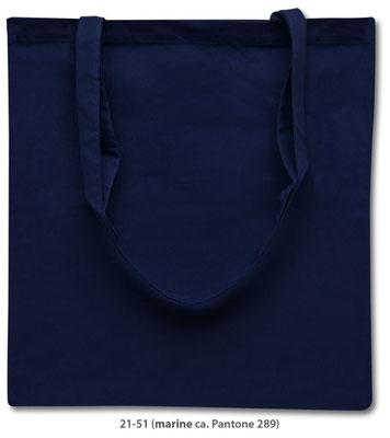 Baumwolltaschen, lange Henkel, marine blau