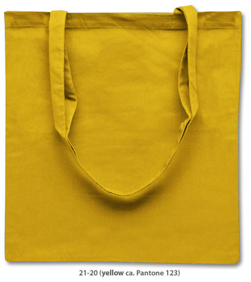 Baumwolltaschen, lange Henkel, gelb