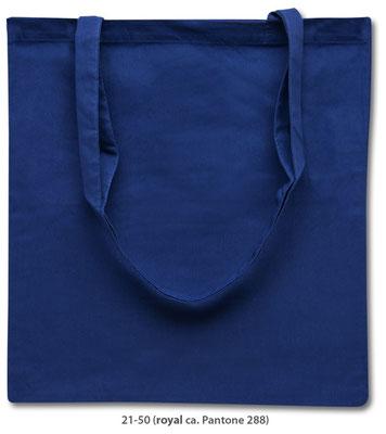 Baumwolltaschen, lange Henkel, royal blau