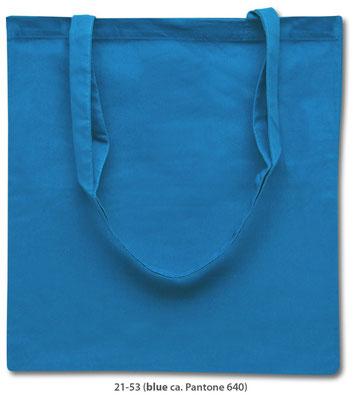 Baumwolltaschen, lange Henkel, hellblau