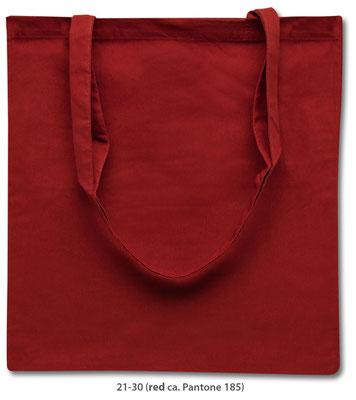 Baumwolltaschen, lange Henkel, rot
