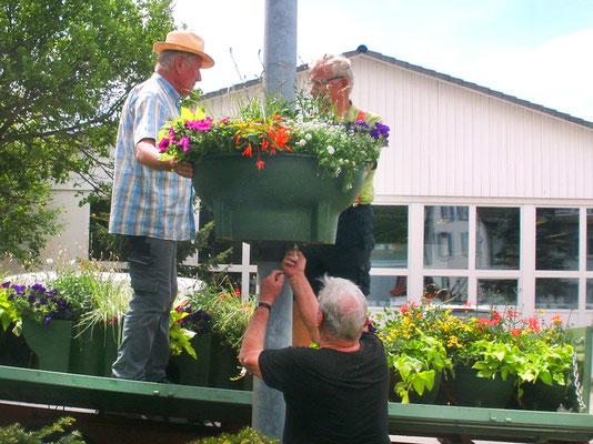 Der Blumenschmuck im Ort wird wieder aufgehängt.