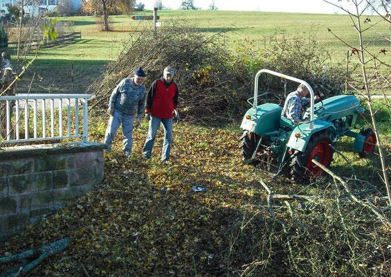 Freilegung mit Traktor und Baggerraupe