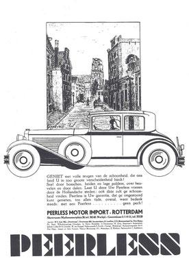 Nederlandse advertentie voor Peerless uit 1930.