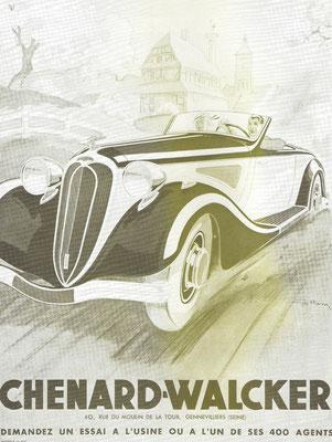 Een Franse advertentie van Chenard-Walcker.