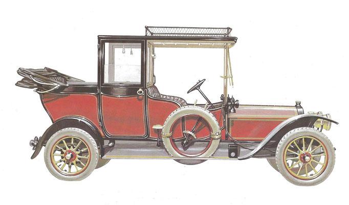 Een Eysink Landaulet uit 1909, een illustratie van Pieter van der Maaden uit Den Haag.