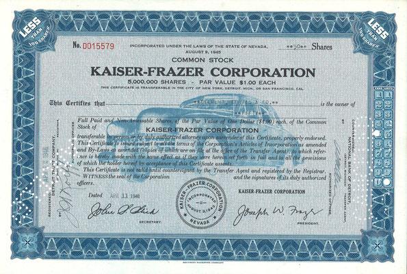 Certificaat voor 50 aandelen Kaiser-Frazer Corporation uit 1946.