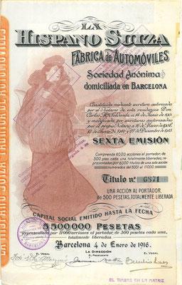 Aandeel (acción) La Hispano Suiza Fabrica de Automóviles S.A. uit 1916, 6e emissie.
